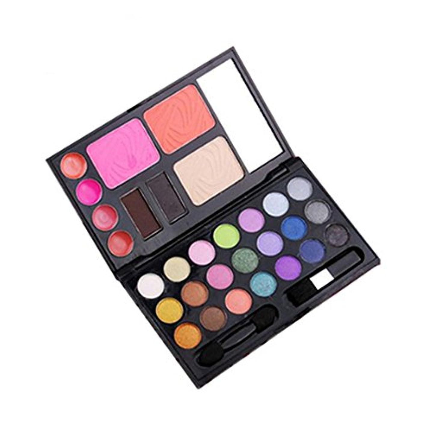 人気30色メイクアップパレット 21色アイシャドウ+4色リップカラー+2色チークカラー+1色コンシラー+2パウダーアイブロウ 鏡付き アイシャドウブラシとチークブラシ (2#)