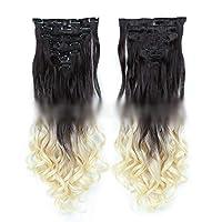 ACHAOHUIXI ファッションレディース22インチ(55cm)ロングカーリーヘアエクステンションクリップイン - 7個合計16クリップフルヘッドヘアピース (色 : #2T613)