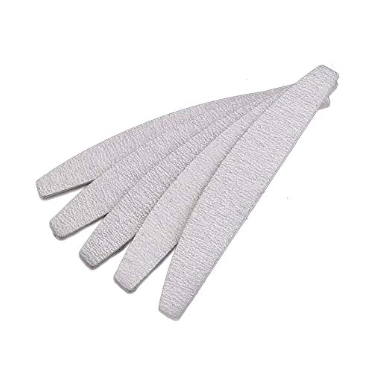 魅力的機動四面体Semoic 爪やすり ネイルファイル、D形、両面、灰白/オフホワイト、10個