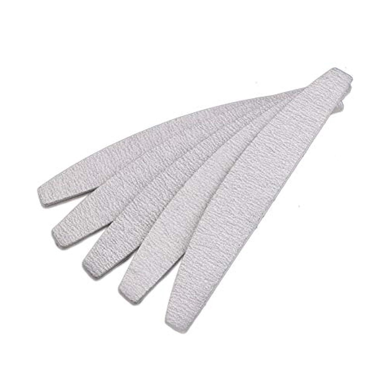 RETYLY 爪やすり ネイルファイル、D形、両面、灰白/オフホワイト、10個