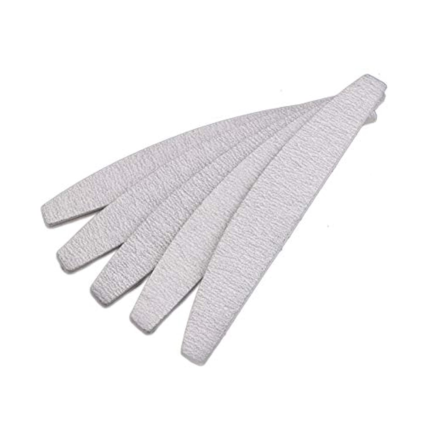 Semoic 爪やすり ネイルファイル、D形、両面、灰白/オフホワイト、10個