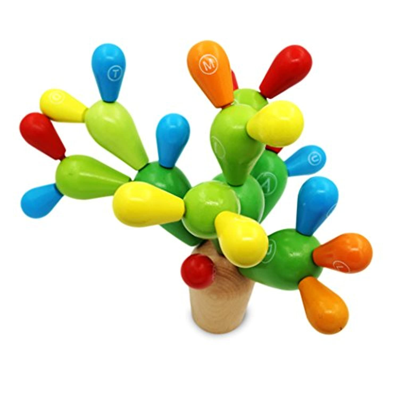 popculta木製教育Preschoolシェイプ&色認識Cactusパズルおもちゃ