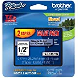 "Brother Genuine P-touch TZE-1312PK Tape, 1/2"" (0.47"") Standard Laminated P-touch Tape, Black on Clear, Perfect for Indoor or"