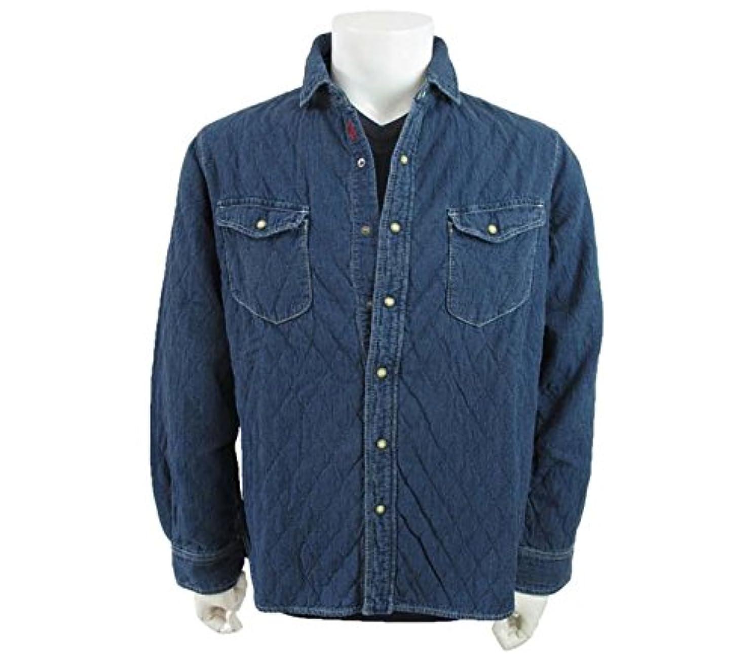 芽自分の力ですべてをする仕様(ラウラフェリーチェ) Laura Felice ダブルフェイス キルティングデザイン デニムシャツ ブルー 48サイズ
