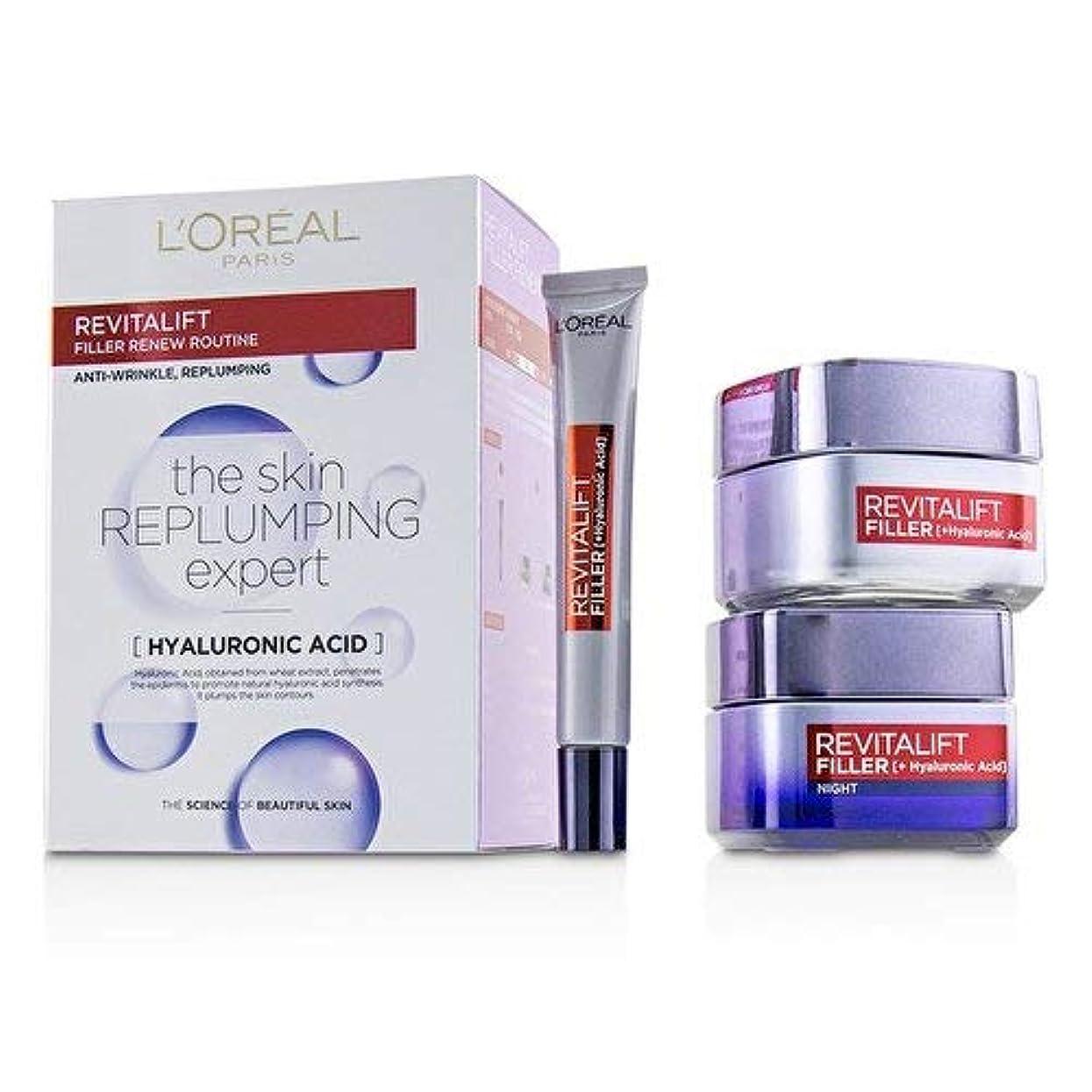 きらめき歌う見えるロレアル Revitalift Filler Renew Routine Set: Day Cream 50ml/1.7oz + Night Cream 50ml/1.7oz + Eye Cream 15 ml/0.5oz...