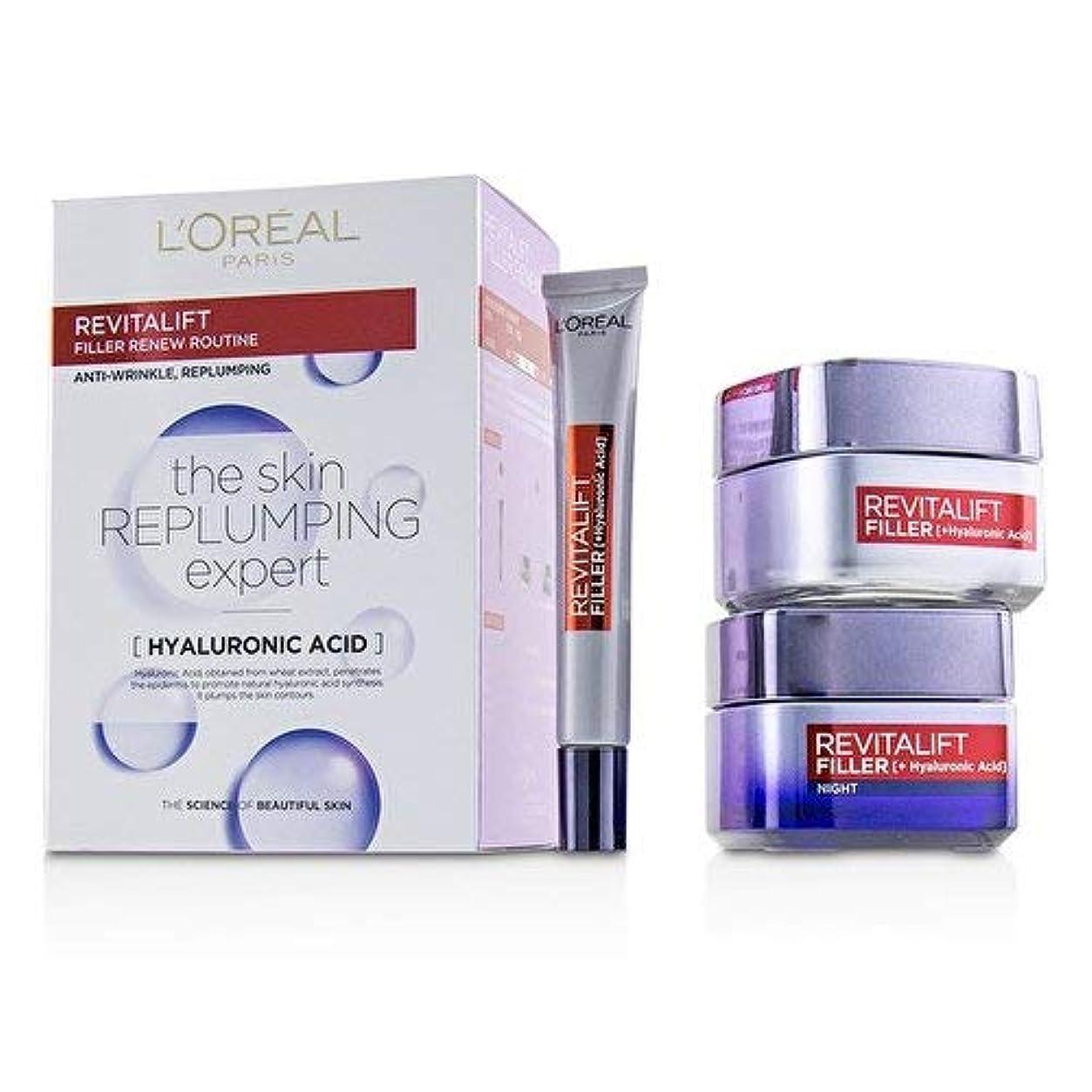 軍隊機械的に頼るロレアル Revitalift Filler Renew Routine Set: Day Cream 50ml/1.7oz + Night Cream 50ml/1.7oz + Eye Cream 15 ml/0.5oz 3pcs並行輸入品