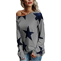 Misaky Women's Blouse Fall Star Off Shoulder Jumper Pullover Tops