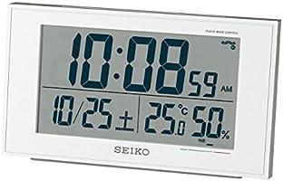 セイコー クロック 目覚まし時計 電波 デジタル カレンダー 快適度 温度 湿度 表示 白 パール SQ758W SEIKO