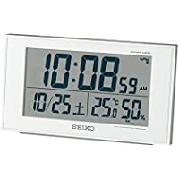 セイコー クロック 目覚まし時計 電波 デジタル 白 パール 値札あり SQ758W SEIKO