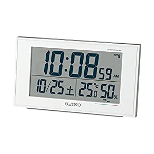 セイコー クロック 目覚まし時計 電波 デジタル カレンダー 快適度 温度 湿度 表示 白 パール 値札あり SQ758W SEIKO