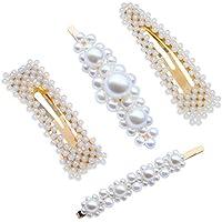 Prettyia 4Pcs White Faux Pearls Barrette Hair Clip Hairpin Wedding Bridal Headdress Hair Clasp