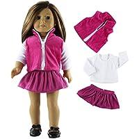 Prettyia 3色 衣類セット Tシャツ ジーンズトップ プリーツスカート 18インチアメリカンガール人形用服 かわいい - 01