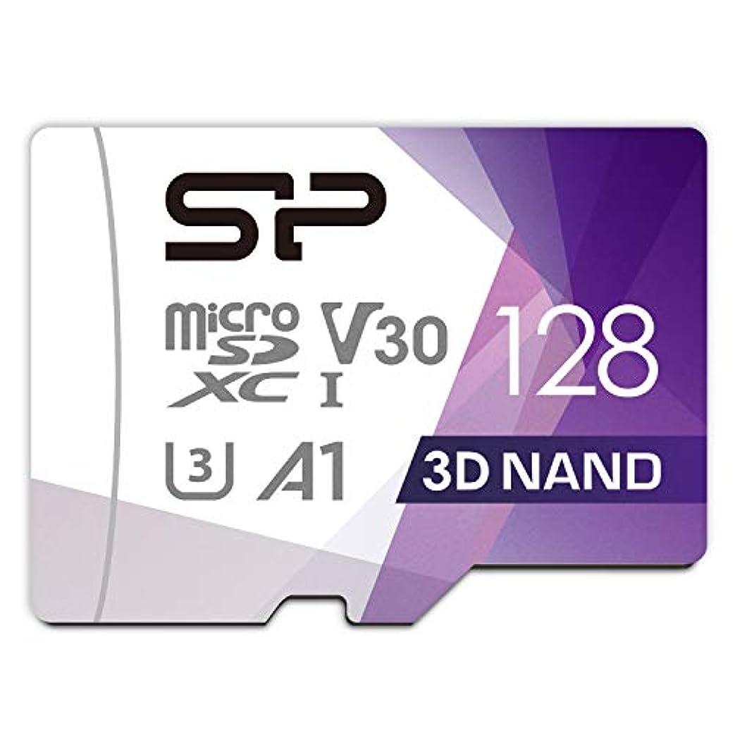 シリコンパワー microSD カード 128GB class10 UHS-1 U3 対応 最大読込100MB/s 4K対応 アダプタ付 3D Nand 2019年モデル 【Amazon.co.jp限定】 SP128GBSTXDU3V20AB