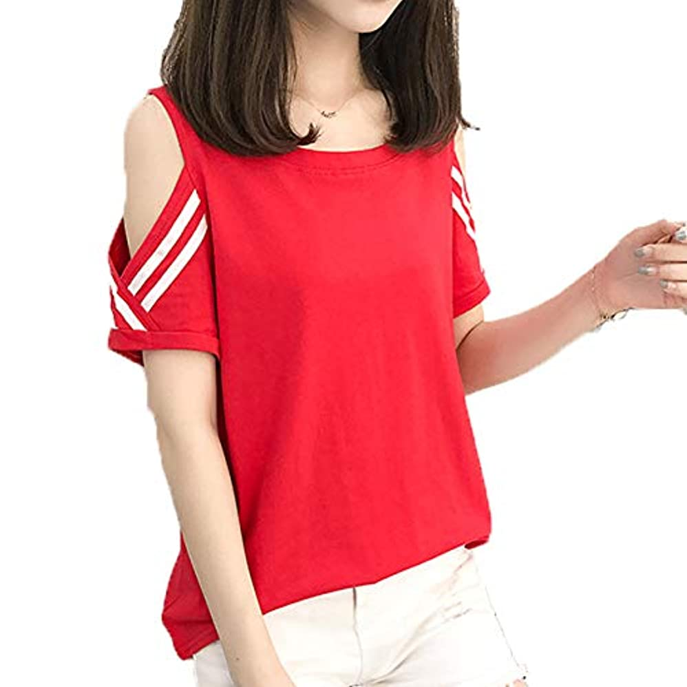 線形時制谷[ココチエ] Tシャツ ライン プルオーバー レディース 肩出し 半袖 かっこいい かわいい おしゃれ レッド イエロー ホワイト