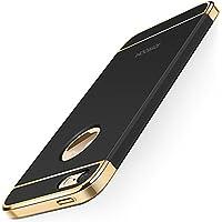 KYOKA iPhone SE 5 5s ケース メッキ加工 軽量 衝撃防止 3パーツ式 アイフォン SE 5 5s ケース おしゃれ 高級感 薄型 携帯カバー (ブラック)
