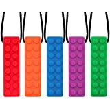 URlighting Sensory Chew Necklace (5 Pack) - Lego Teether Necklace, Strong Silicone Chewy Toys, Chewing Pendant for Boys & Girls with Autism, ADHD, SPD, Oral Motor Teething & Biting Needs