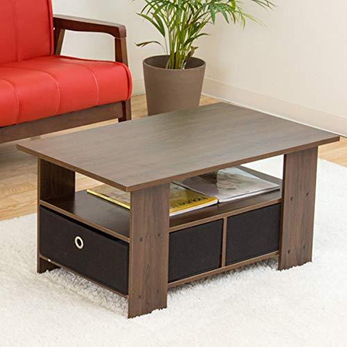 【お得な収納ケース2個付き 使いやすいセンターテーブル】(80×48cm) すっきり片付く収納テーブル 中下段で3分割 木製ローテーブル 訳有り (ブラウン色)