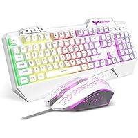HAVIT HV-KB558CM LED有線 ゲームキーボードとマウスセット 多色のバックライト U…
