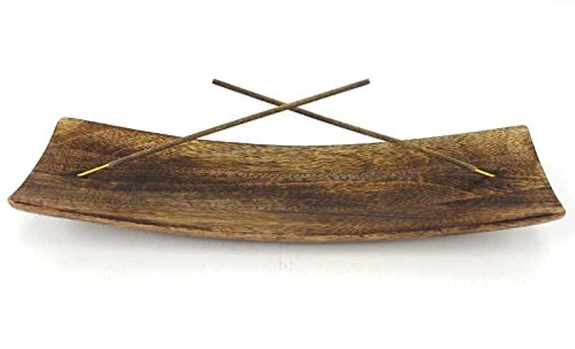 東ティモールハイライトかもしれないTrough Style Antique Wide Boat Wood Incense Double Burner Hand Made Ash New