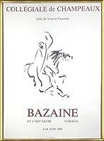 ポスター バゼイン Collegiale De Champeaux 1976 額装品 アルミ製ベーシックフレーム(ゴールド)