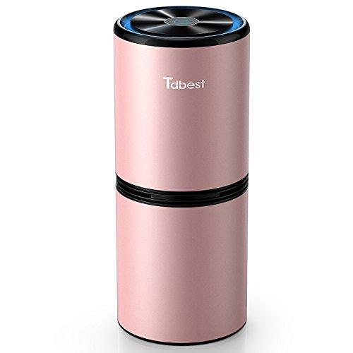 Tdbest 車載空気清浄機 イオン発生器 エアクリーナー 除菌消臭 花粉 アレル物質対策 静音 USBケーブル付き (ピンク)