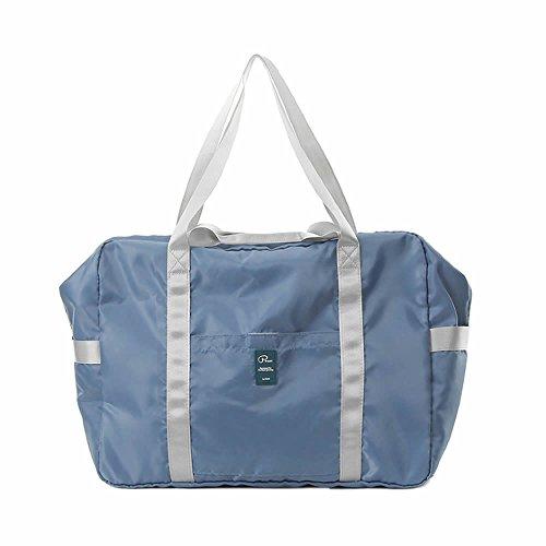 旅行バッグ 折りたたみ旅行バッグ トートバッグ 手提げ 折畳 トラベルバッグ トラベル鞄 スーツケース対応 キャリーに通せる多機能 トラベルバッグ (ブルー)