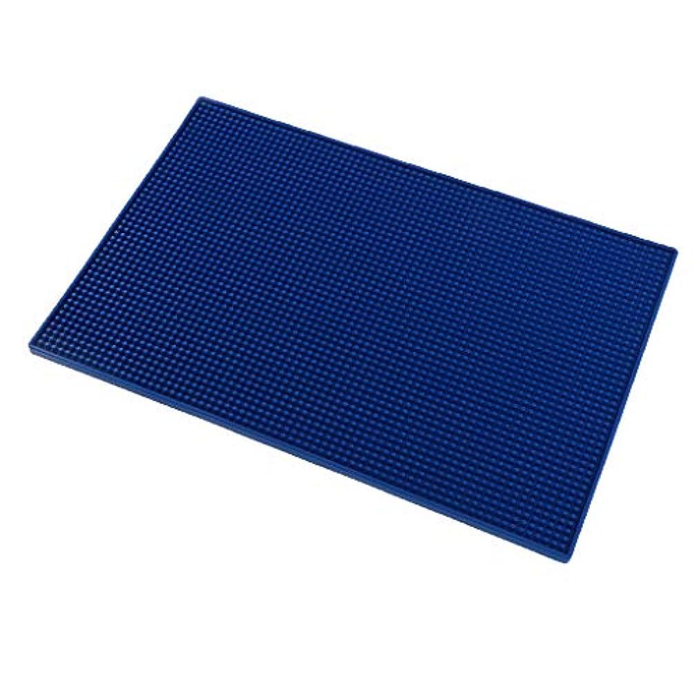 無関心もの普遍的なクッション シリコンマット ネイルアート ハンドレスト マニキュアツール 全3色 - 濃紺