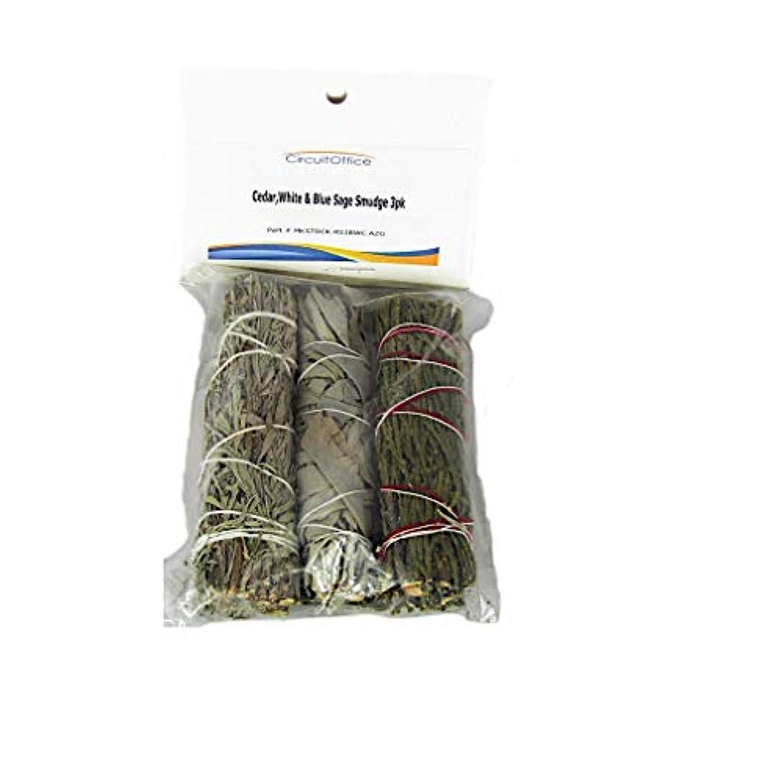 コミュニケーションお酢ジャケットAssortment of Cedar、ホワイト、ブルーセージSmudge Stick 3 - Pack 4インチ