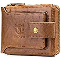 Genuine Leather Men Wallet Zipper, Womdee Mens Leather Flipout ID Wallet Bifold Trifold Hybrid for Men Large Capacity ID Window Card Case with Zip Coin Pocket, Brown