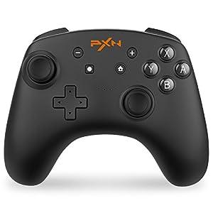 「ジャイロセンサー搭載」 PXN スイッチ コントローラー 任天堂 Switch 支持 コントローラー Bluetooth 接続 Switch Pro コントローラー スプラトゥーン2 ゼルダ マリオカート8 対応 (黒)