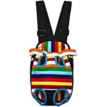 Legs Out Dog Puppy Front Chest Backpack Travel Carrier Comfortable Pet Bag for Cats Small Dogs Outdoor Rainbow M
