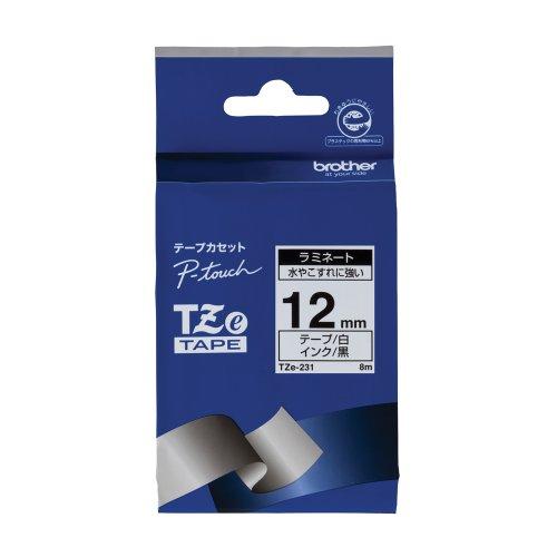 ブラザー工業 TZeテープ ラミネートテープ(白地/黒字) 12mm TZe-231