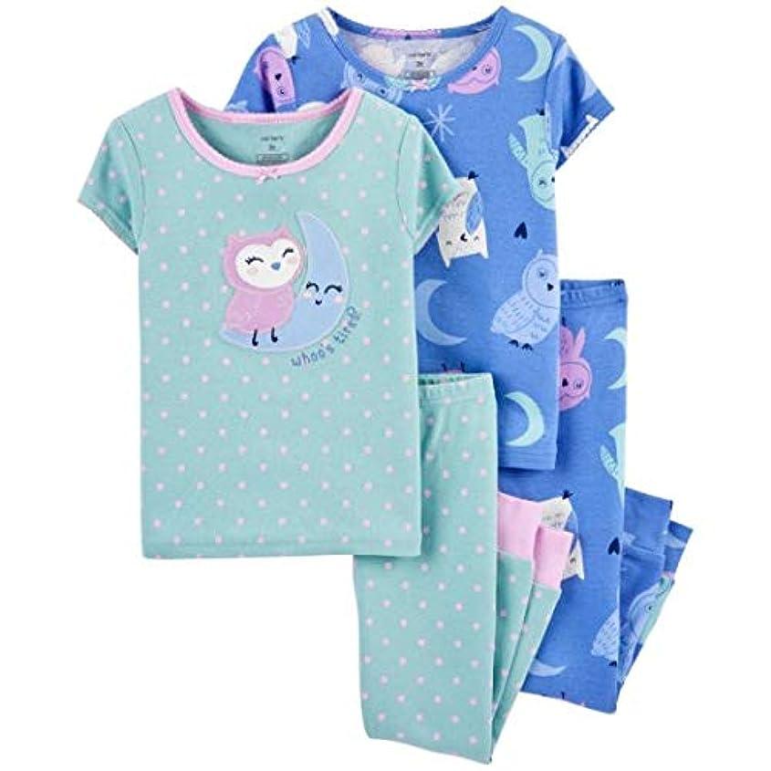 こどもの日顎メルボルンカーターズ carter's 2-5歳用 女の子用青x紫ムーンライトふくろうさん半袖パジャマ上下4点セット スリープウェア 出産祝い [並行輸入品]