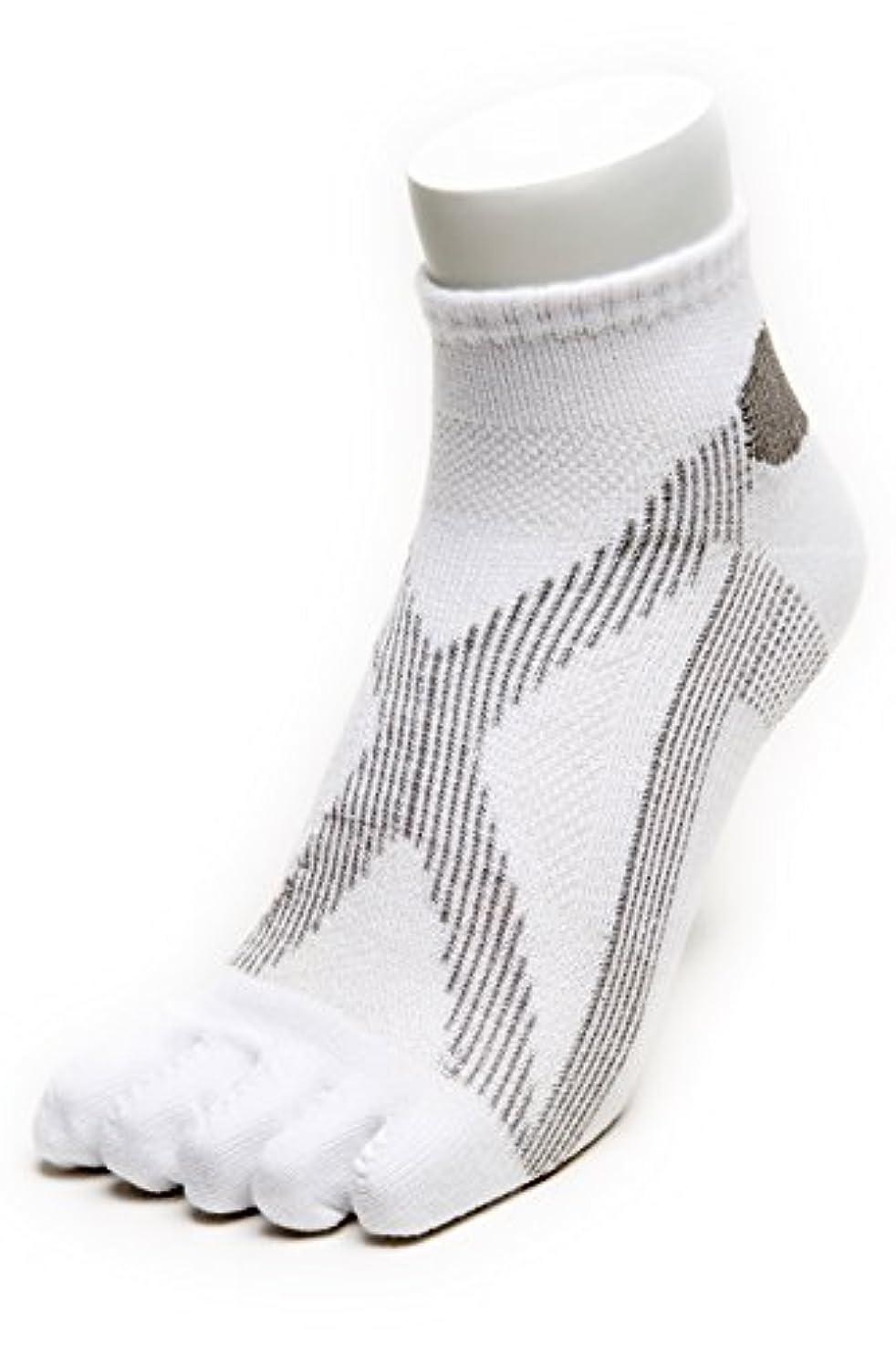 変更適格平手打ちAIRエアーバリエ 5本指ソックス (25~27㎝?ホワイト)テーピング ソックス 歩きやすく疲れにくい靴下 【エコノレッグ】【メンズ 靴下】 (ホワイト)