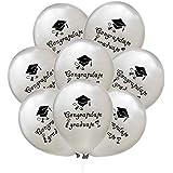 Amosfun 12インチおめでとう卒業風船おめでとう卒業式の装飾のための膨脹可能な風船 - 銀、20個