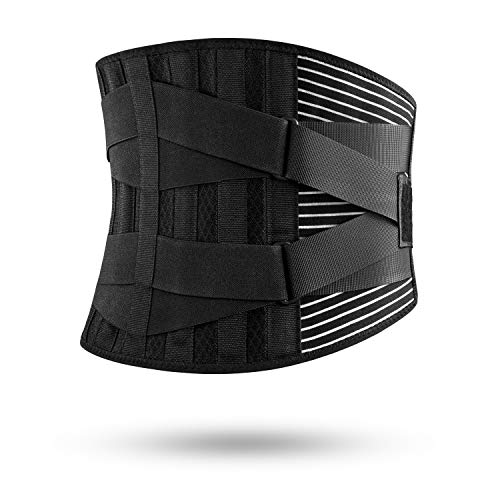 FREETOO 腰サポーター 調整可二重加圧ベルト 6本のボーン内蔵 メッシュ素材 軽型 高通気性 腰痛ベルト スポーツ・日常生活・仕事用 腰痛緩和/腰椎固定や保護 / 姿勢矯正に対応 (L/XL)