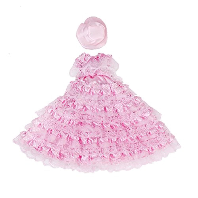 【ノーブランド品】ドール用 人形用 ドレス レース 帽子付 全3色 アクセサリー (ピンク)