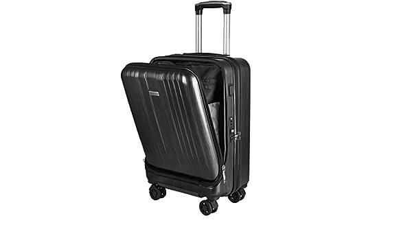 663ee7803f Amazon | 約 30L 1~3泊用 機内持込み USB ポート 付 フロント オープン TSA ロック 3色 Arc's006 (ブラック) |  スーツケース