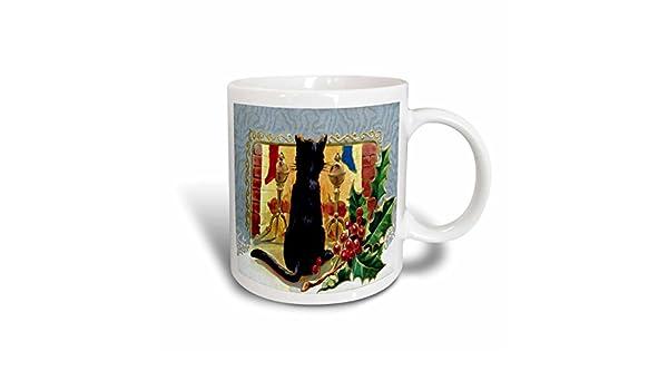 11-Ounce 3dRose Merry Christmas Cat 1910 Mug