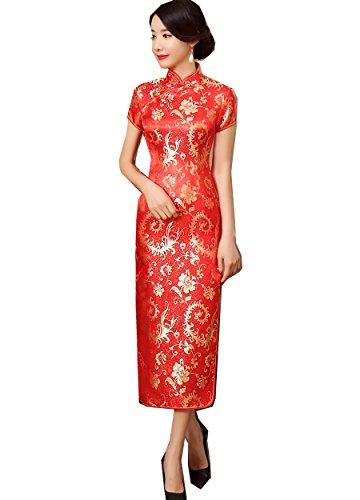 (上海物語)Shanghai Story ロング丈 チャイナドレス 女性 チャイナ服 龍柄 民族衣装 半袖 チャイナ風 ワンピース レディース 中華風ドレス 中国ドレス M