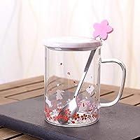 Duoying グラスカップ クリエイティブ コーヒーマグ with カップカバー付き さくら柄 ドリンク スプーン