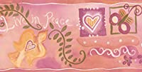 Chesapeake ハーツ平和ホワイトと子供のための紫色の壁紙ボーダー上の赤い花ピンク、ロール15' X 5.5