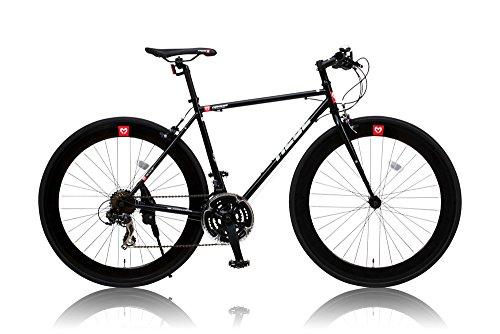 カノーバー クロスバイク 700C シマノ21段変速 CAC-024 (HEBE) ディープリム クロモリフレーム フロントLEDライト付 ブラック