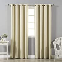 Best Home Fashion Thermal Insulated Blackout Curtains - Antique Bronze Grommet Top - Beige - 52W x 84L - No tie backs (Set of 2 Panels) by Best Home Fashion