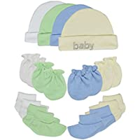 Songbai Baby Gift Set 100% Cotton Caps Socks and Mittens For Newborn Boys Girls (Newborn 4-set assorted)