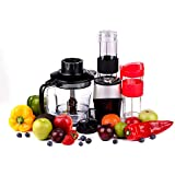 Professional Blender, Chopper, Food Processor with 2 Personal Jars for Single Serve, Smoothie Cup, BPA-Free – Red – 4 Piece Set (Black)