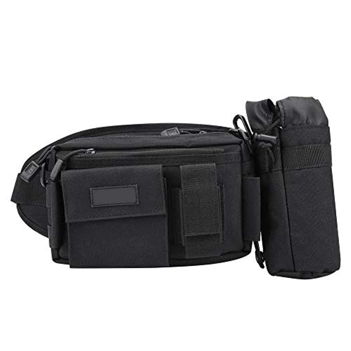嬉しいですテロ征服釣りバッグ フィッシングタックルバッグ ウエストバッグ 大容量 複数のポケット ショルダーストラップ 調節可能 多機能 ブラック