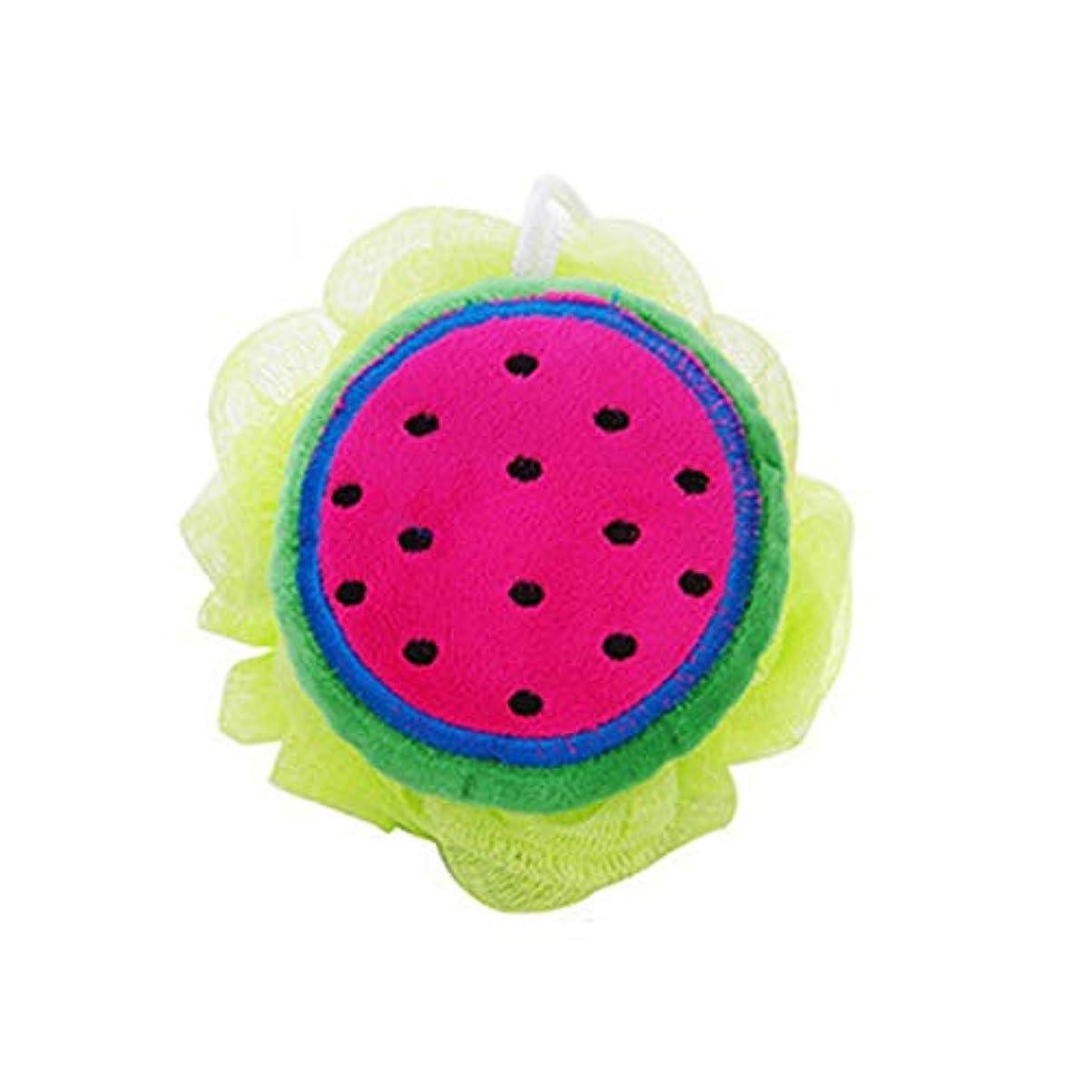 小石ところで優越カラーフルーツスタイルバスボール浴槽スクラバーシャワーボディクリーニングボールシャワーウォッシュナイロンメッシュバスアクセサリー-ローズレッド&グリーン