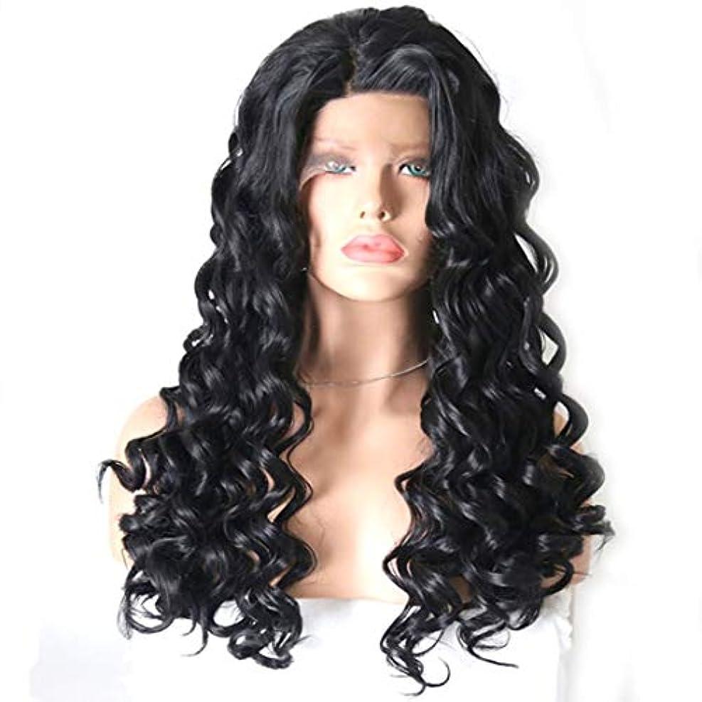 相対的ぬるい受取人Kerwinner 黒い巻き毛のかつらフロントレースを持つ女性のための長い巻き毛 (Color : Black, Size : 20 inches)