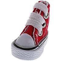 KOZEEY バービー人形アクセサリーのため ハイトップ キャンバス シューズ ペア レースアップ 靴 全4カラー - 赤
